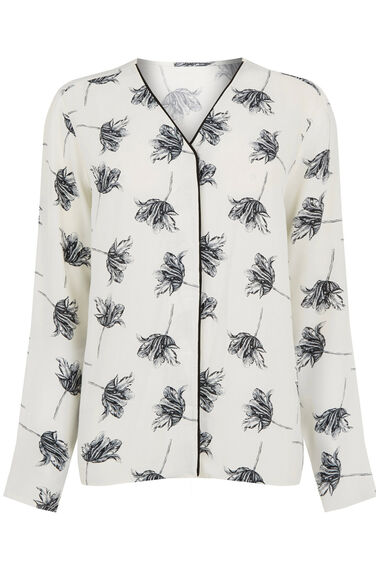 Warehouse, STENCIL FLORAL BLOUSE Cream 0