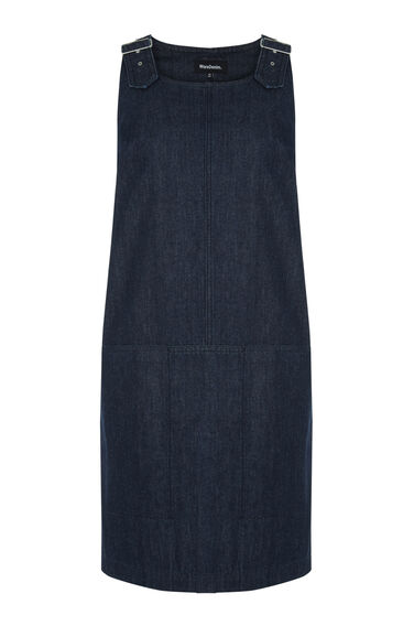Warehouse, Dungarees Dress Dark Wash Denim 0