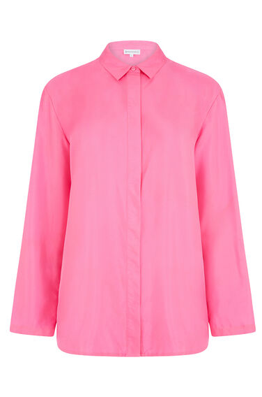 Warehouse, PLAIN SILK BLOUSE Bright Pink 0