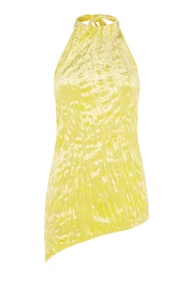 Warehouse, CRUSHED VELVET HALTER TOP Yellow 0