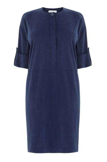 Warehouse, POPPER DETAIL SHIRT DRESS Navy 0