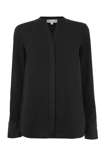 Warehouse, SPLIT SLEEVE SATIN MIX BLOUSE Black 0