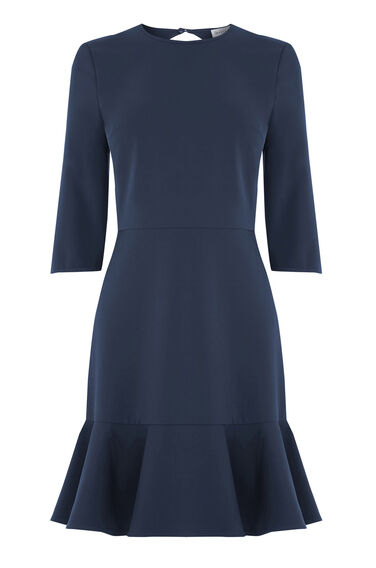 Warehouse, PEPLUM HEM DRESS Navy 0