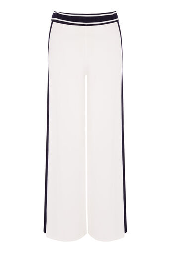 Warehouse, STRIPE TRIM TROUSER Cream 0
