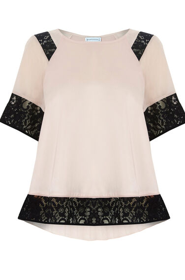 Warehouse, LACE INSERT TEE Light Pink 0