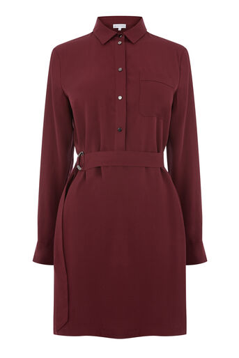 Warehouse, POPPER BELTED SHIRT DRESS Dark Red 0