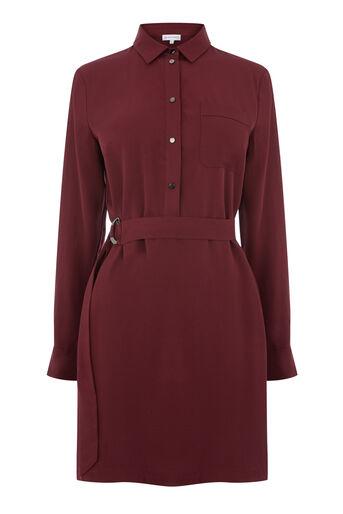 Warehouse, POPPER BELTED SHIRT DRESS Dark Red 0