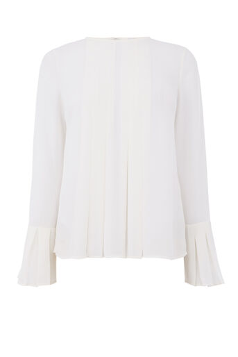 Warehouse, DOUBLE PLEAT TOP Cream 0
