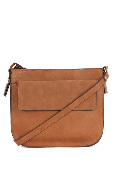 Warehouse, Large Saddle Cross Body Bag Tan 0