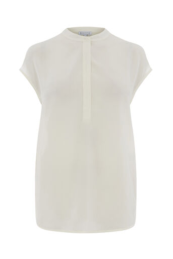 Warehouse, Button Side Blouse Cream 0