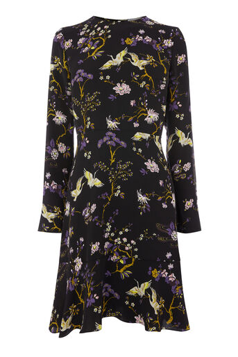 Warehouse, FLORAL BIRD PRINT DRESS Black Pattern 0