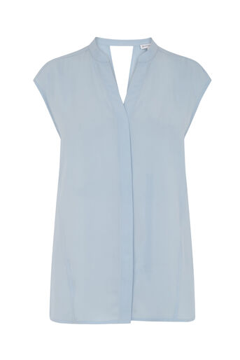 Warehouse, OPEN BACK SLEEVELESS BLOUSE Light Blue 0