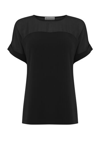 Warehouse, SHEER PANEL SHORT SLEEVE TOP Black 0