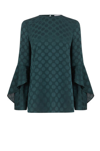 Warehouse, SPOT JACQUARD TOP Dark Green 0