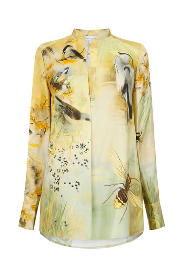 Warehouse, SILK WOODLAND PRINT BLOUSE Multi 0