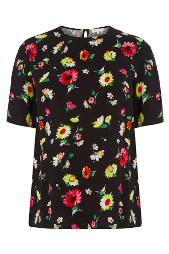 Warehouse, WOODSTOCK FLORAL T-SHIRT Black Pattern 0