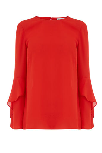 Warehouse, RUFFLE SLEEVE TOP Bright Red 0