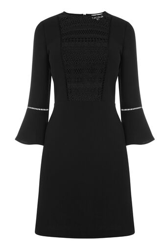Warehouse, LACE FRONT FLUTED SLEEVE DRESS Black 0