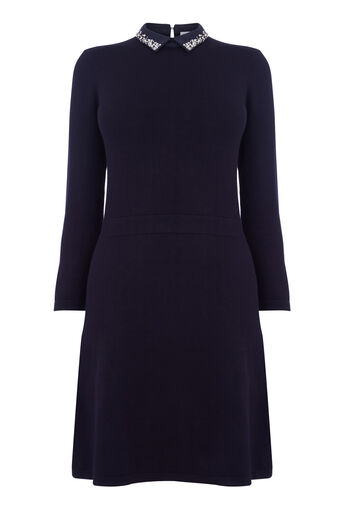 Warehouse, PEARL EMBELLISHED COLLAR DRESS Navy 0