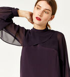Warehouse, LAYERED CAPE DRESS Dark Purple 4