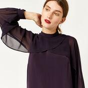 Warehouse, LAYERED CAPE DRESS Dark Purple 4