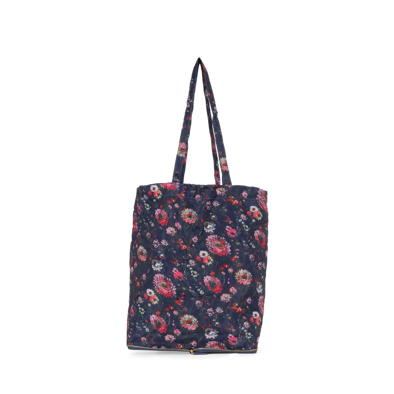Warehouse, Zip Around Shopper Bag Blue Pattern 1