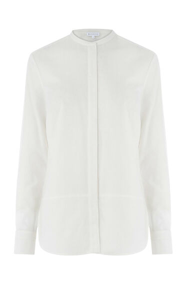 Warehouse, BRUSHED COTTON GRANDAD SHIRT White 0