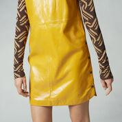 Warehouse, Patent Leather Shift Dress Mustard 4