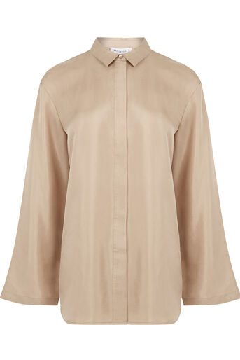 Warehouse, PLAIN SILK BLOUSE Camel 0