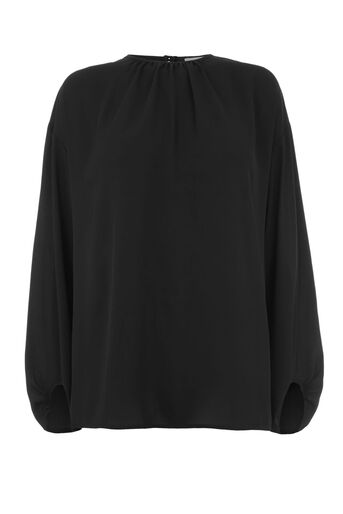 Warehouse, GATHERED SLEEVE TOP Black 0