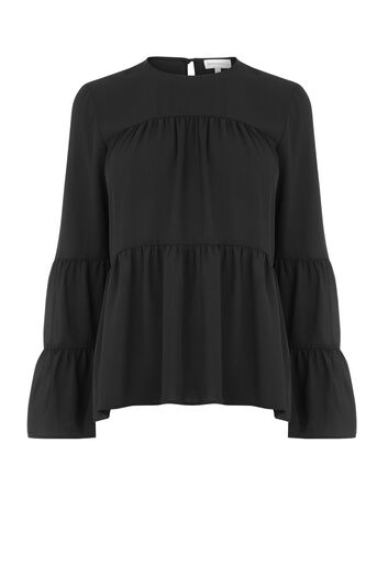 Warehouse, TIERED GEORGETTE TOP Black 0