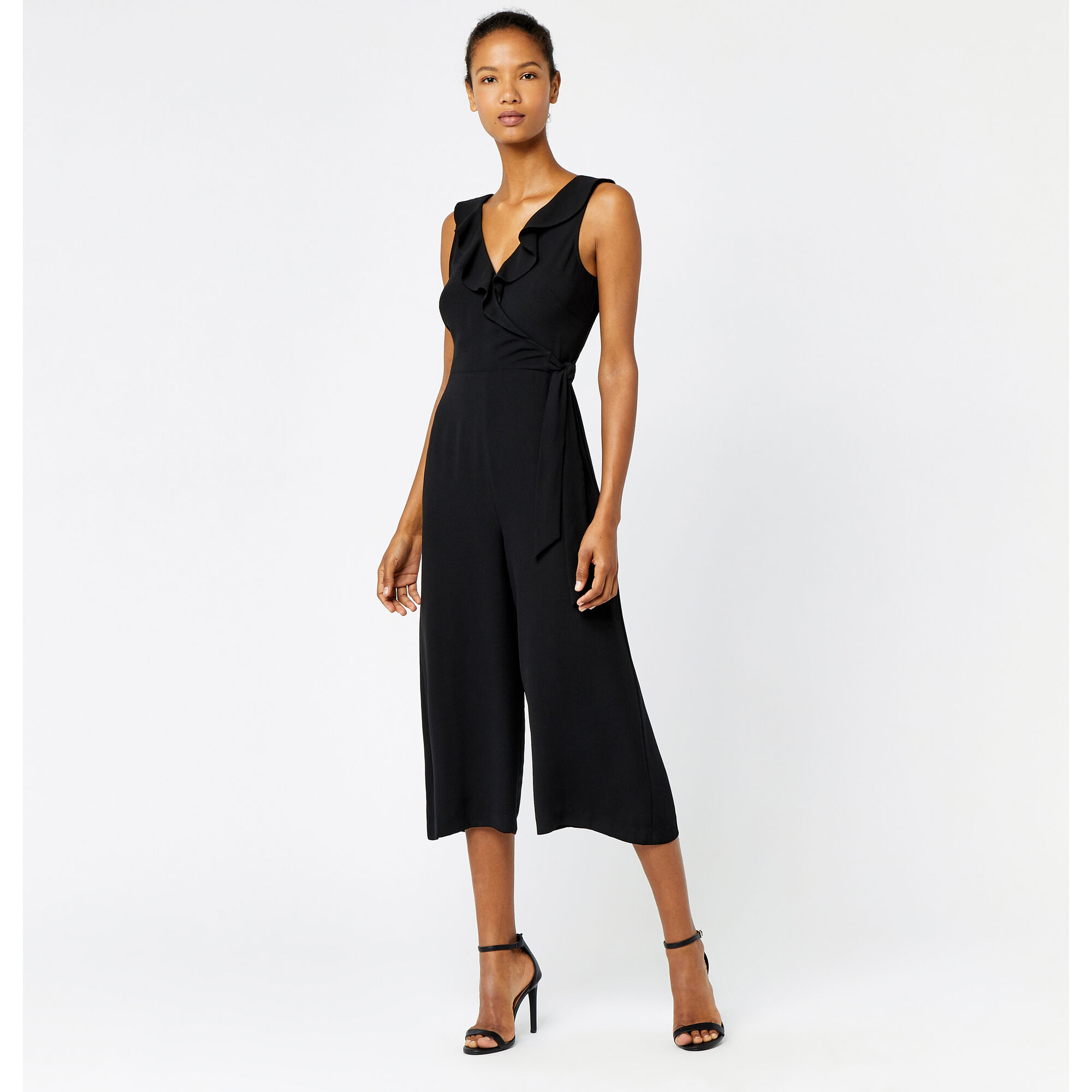 Warehouse, FRILL WRAP JUMPSUIT Black 1