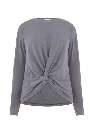 Warehouse, LONG SLEEVE KNOT FRONT TOP Dark Grey 0
