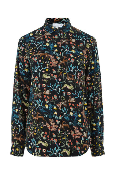 Warehouse, THISTLE PRINT SHIRT Black 0
