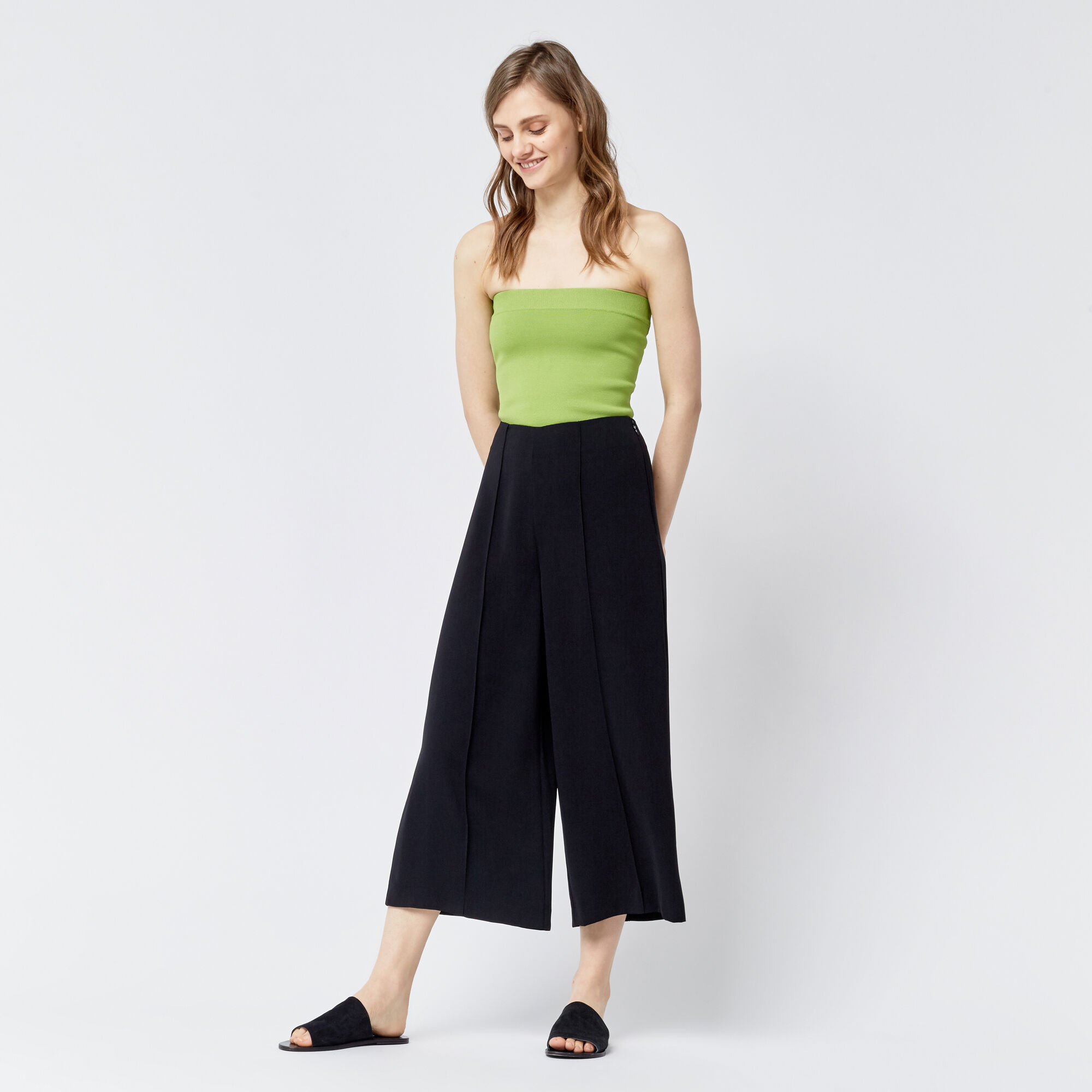 Warehouse, PINTUCK CULOTTES Black 1