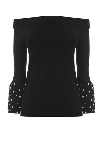 Warehouse, PEARL FLARE CUFF TOP Black 0