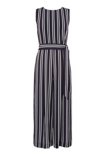 Warehouse, STRIPE OPEN BACK JUMPSUIT Blue Stripe 0