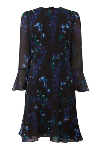 Warehouse, GILLY FLORAL FLIPPY DRESS Black Pattern 0