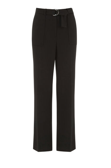Warehouse, STRAIGHT LEG TROUSERS Black 0