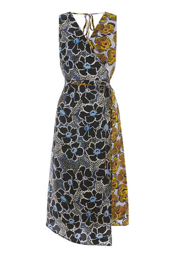 Warehouse, MIXED WOODBLOCK SILK DRESS Multi 0