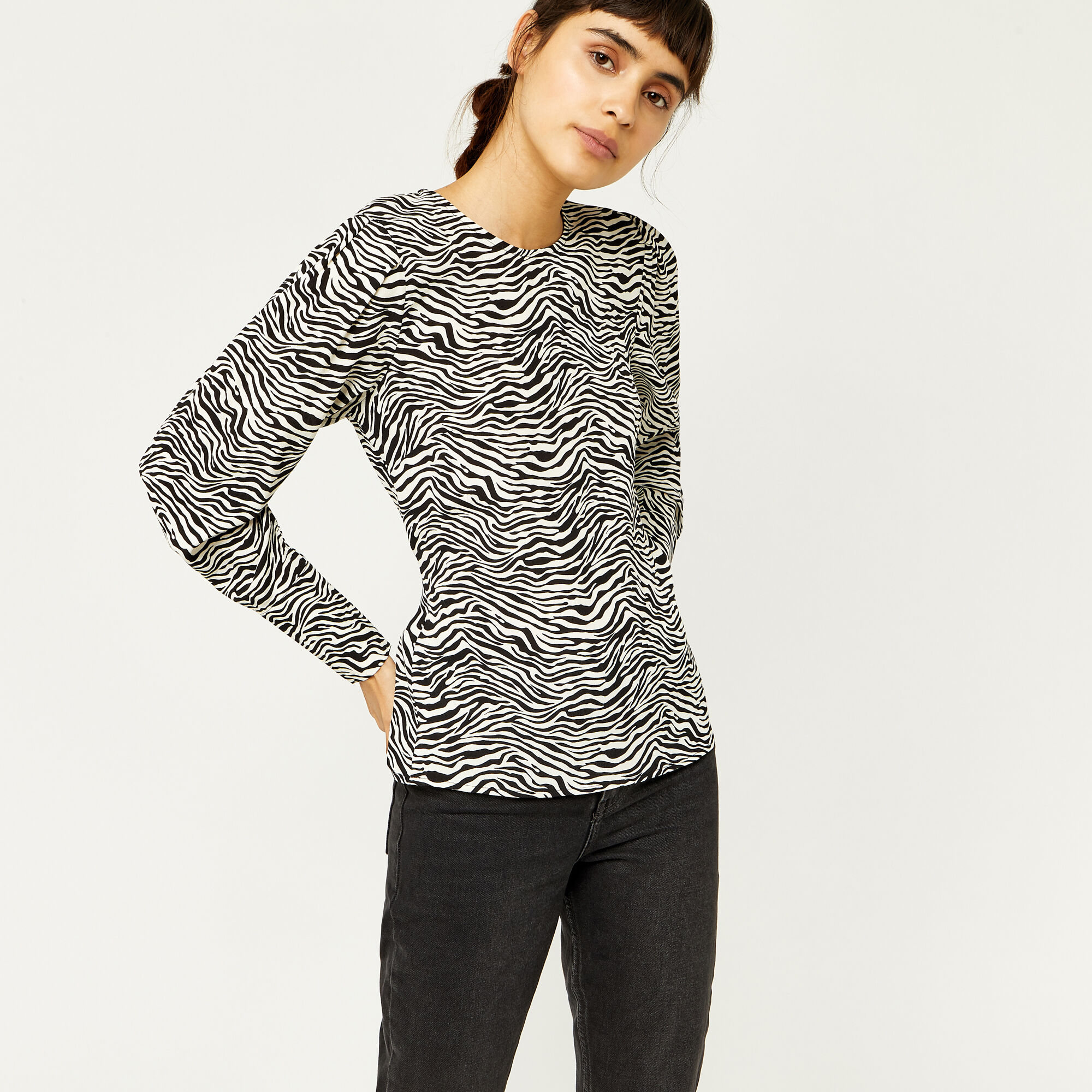 Warehouse, ZEBRA PRINT PUFF SLEEVE TOP Zebra 1