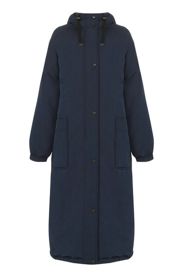 Warehouse, Long Line Wadded Coat Navy 0