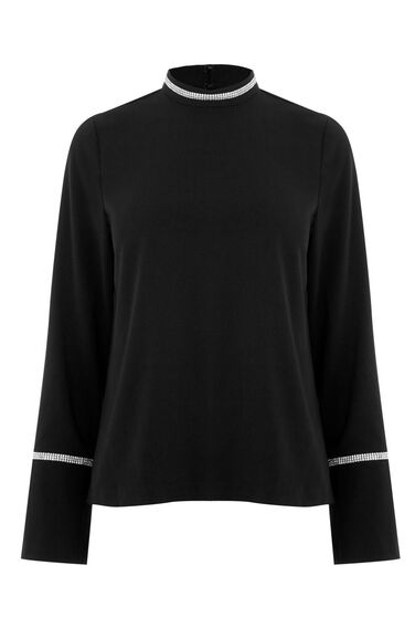 Warehouse, EMBELLISHED TRIM TOP Black 0