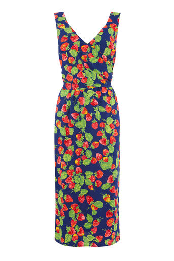Warehouse, STRAWBERRY WRAP BACK DRESS Blue Pattern 0