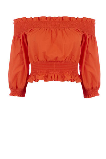 Warehouse, RUCHED BARDOT TOP Bright Red 0