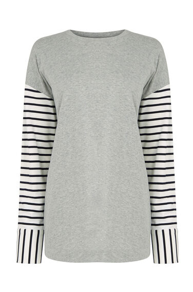 Warehouse, COTTON MIX STRIPE SLEEVE TOP Light Grey 0