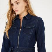 Warehouse, Zip Front Belted Shirt-Dress Mid Wash Denim 4