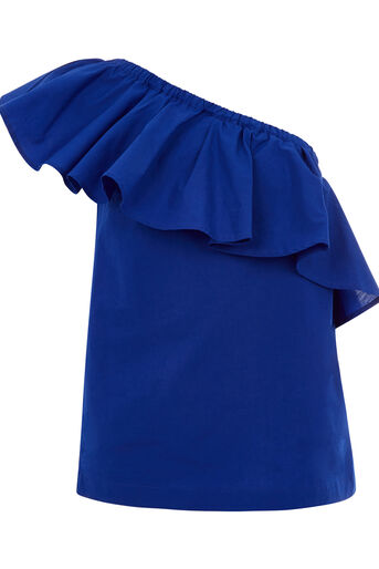 Warehouse, COTTON RUFFLE ONE SHOULDER TOP Bright Blue 0