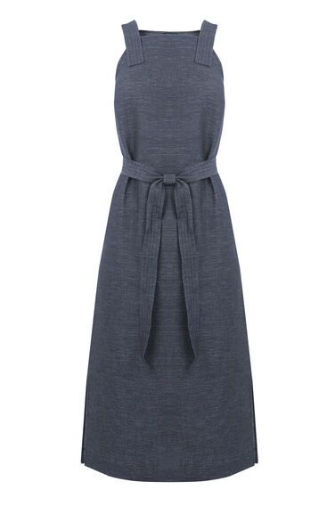 Warehouse, LINEN MIX PINAFORE DRESS Navy 0