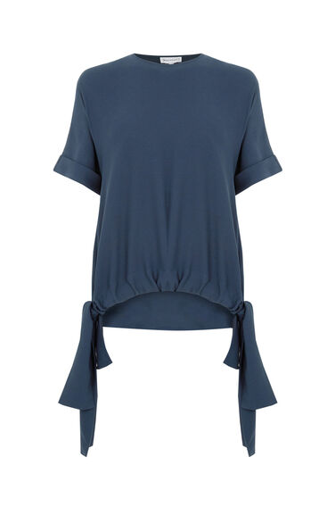 Warehouse, RUCHED HEM TOP Navy 0